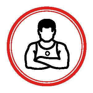 Trainer symbol inside a circle shape