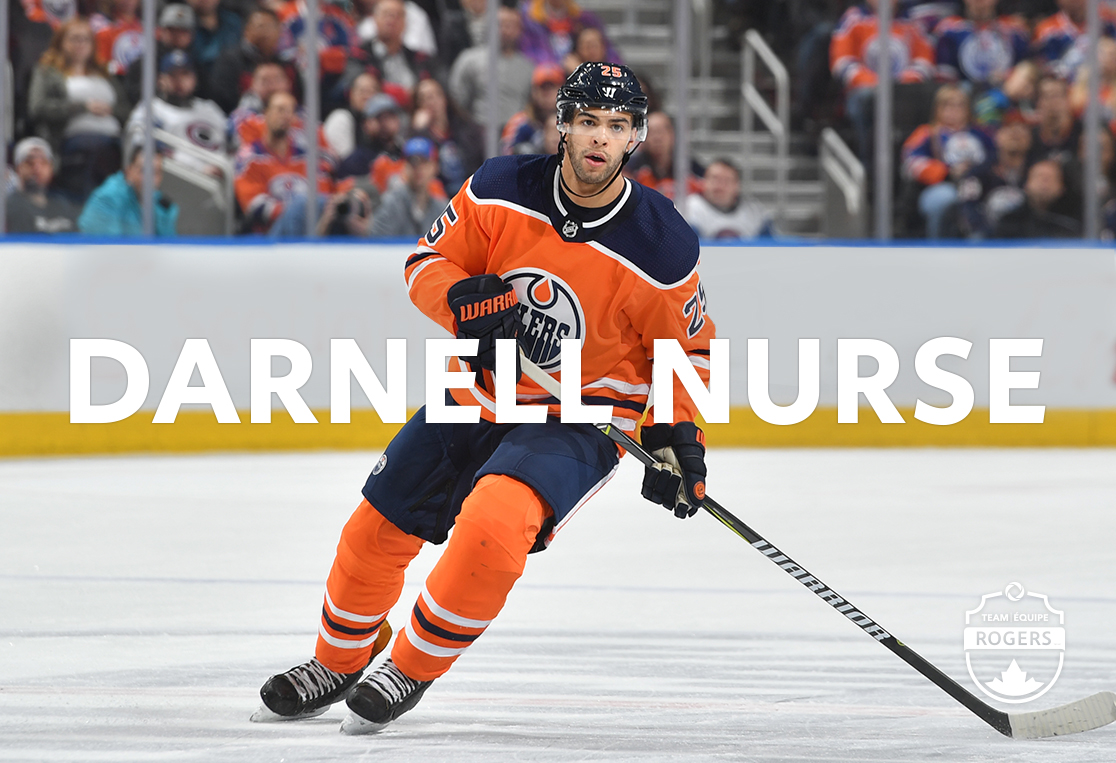 Darnell Nurse of the Edmonton Oilers skating on centre ice