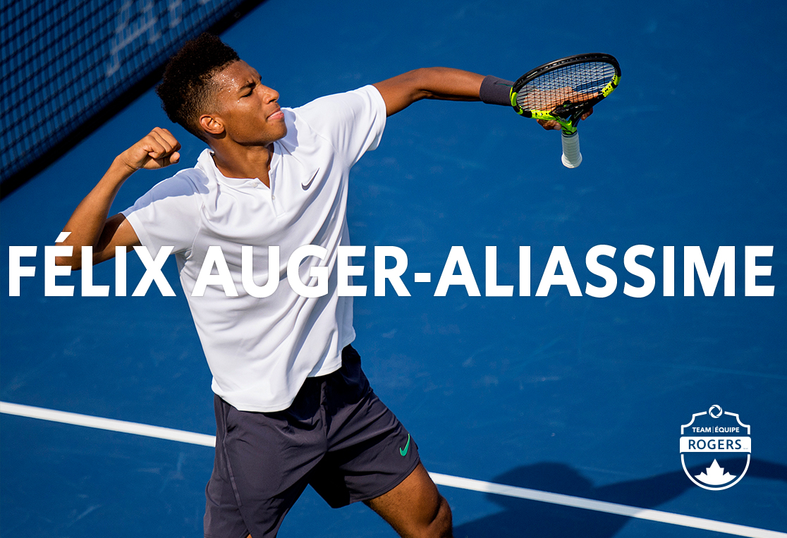 Felix Auger Aliassime celebrating during a game