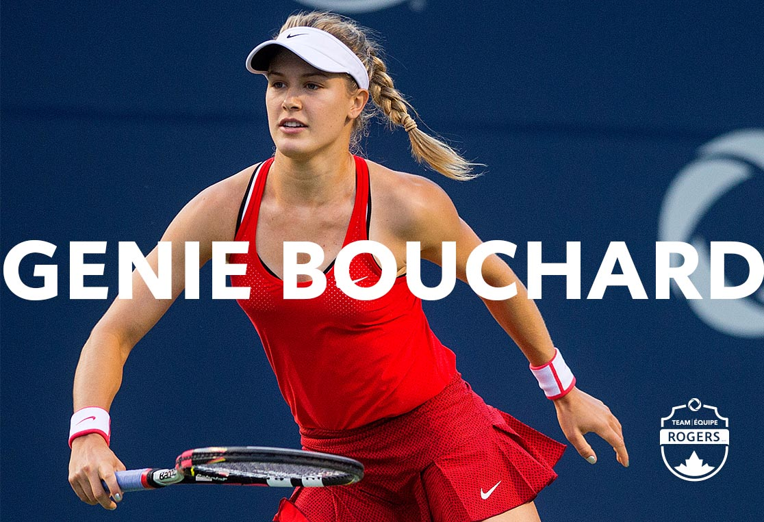 Genie Bouchard on a tennis court during a game