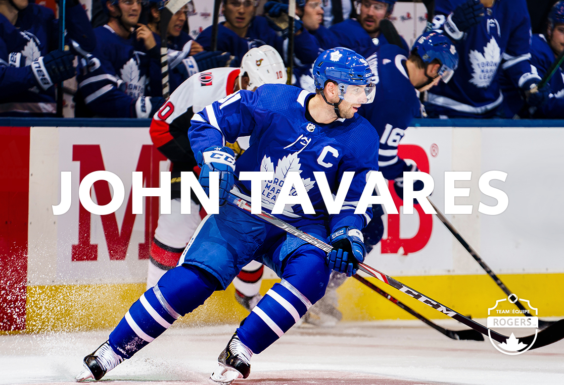 John Tavares of the Toronto Maple Leafs stopping on ice
