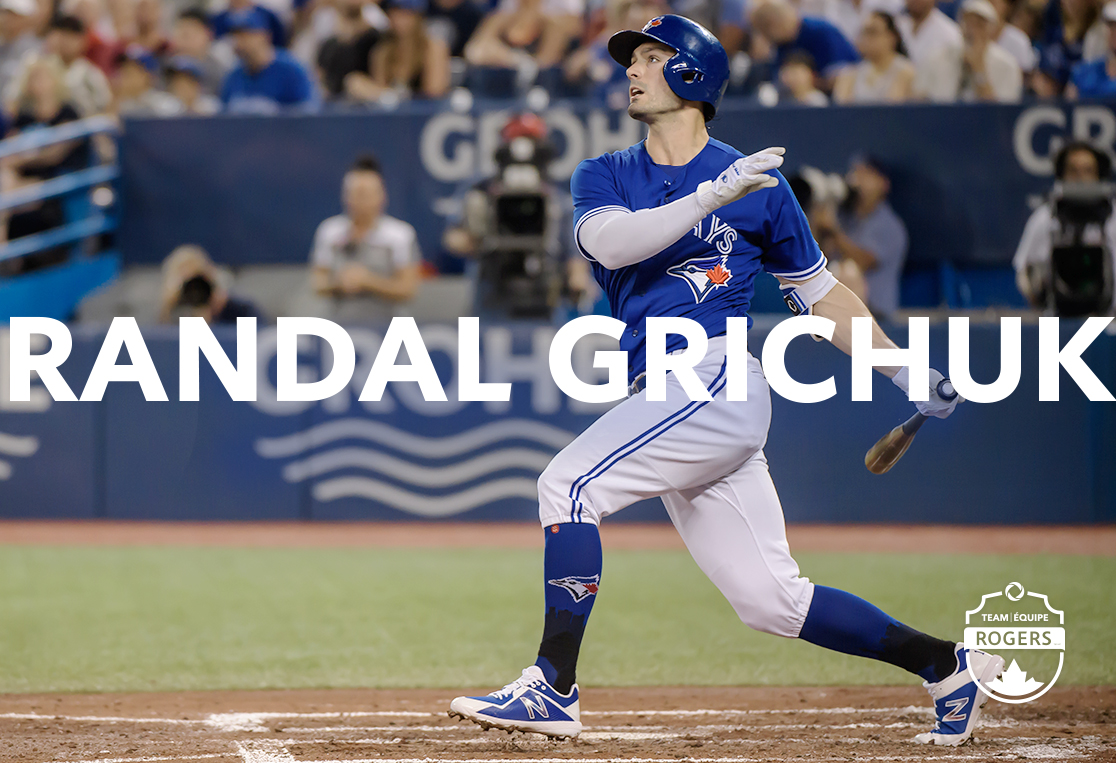 Randal Grichuk of the Toronto Blue Jays batting from home plate
